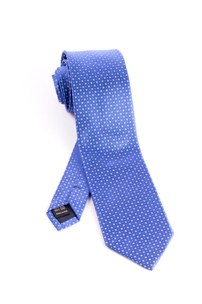 Pure Silk Blue with White Circles and Dots Tie by Tiglio Luxe  Tiglio - Italian Suit Outlet