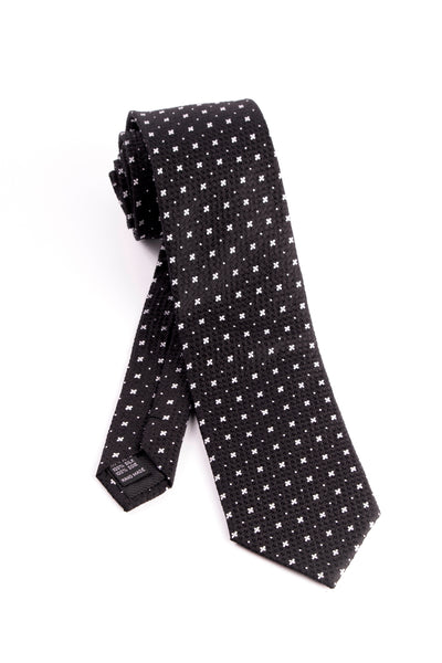 Pure Silk Black with Small White Quatrefoils and Dots Tie by Tiglio Luxe  Tiglio - Italian Suit Outlet
