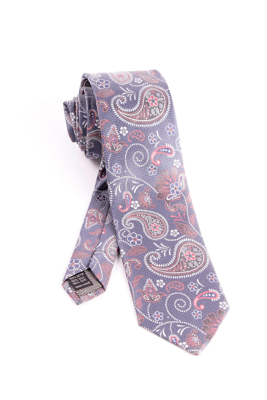 Pure Silk Bluish Gray with Paisley Pattern Tie by Tiglio Luxe  Tiglio - Italian Suit Outlet