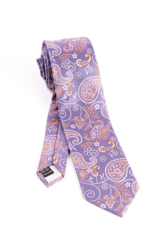 Pure Silk Purple with Paisley and Floral Pattern Tie by Tiglio Luxe