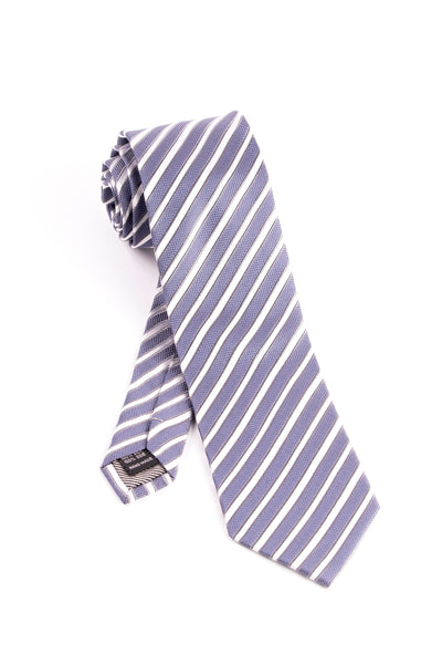Pure Silk Blue with Gray and White Horizontal Lines Tie by Tiglio Luxe  Tiglio - Italian Suit Outlet