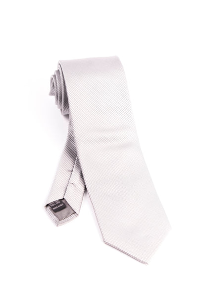 Pure Silk Silver with Horizontal Lines Tie by Tiglio Luxe  Tiglio - Italian Suit Outlet