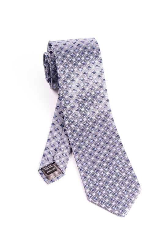 Pure Silk Gray with Light Blue and Black Geometric Pattern Tie by Tiglio Luxe  Tiglio - Italian Suit Outlet