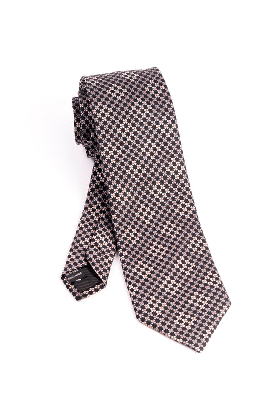 Pure Silk Black with Gray and Cream Flower Pattern Tie by Tiglio Luxe  Tiglio - Italian Suit Outlet