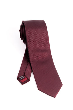 Pure Silk Burgundy with Horizontal Lines Tie by Tiglio Luxe  Tiglio - Italian Suit Outlet