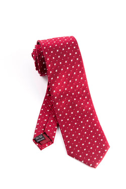 Pure Silk Red with Small White Quatrefoils and Dots Tie by Tiglio Luxe  Tiglio - Italian Suit Outlet