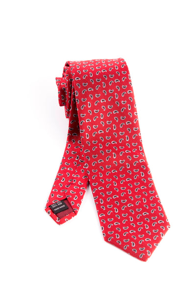Pure Silk Red with Small Silver and Black Droplet Shaped Pattern Tie by Tiglio Luxe  Tiglio - Italian Suit Outlet