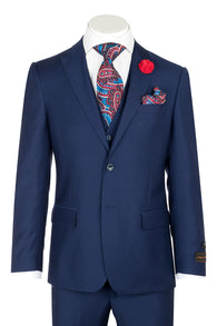 Tiglio Luxe Tufo, Modern Fit, French Blue, Pure Wool Suit & Vest