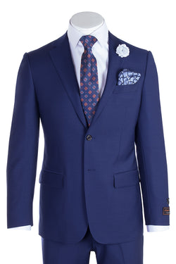 Novello French Blue Pure Wool Men's Suit by Tiglio Luxe  Tiglio - Italian Suit Outlet