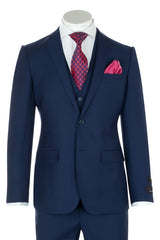 Sienna French Blue Slim Fit, Pure Wool Pure Wool Suit & Vest by Tiglio Luxe