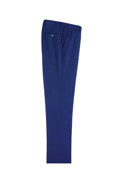 French Blue Flat Front, Pure Wool Dress Pants by Tiglio Luxe  Tiglio - Italian Suit Outlet