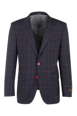 Dolcetto Navy Blue with red windowpane Modern Fit, Pure Wool Jacket by Tiglio Luxe F8076  Tiglio Luxe - Italian Suit Outlet