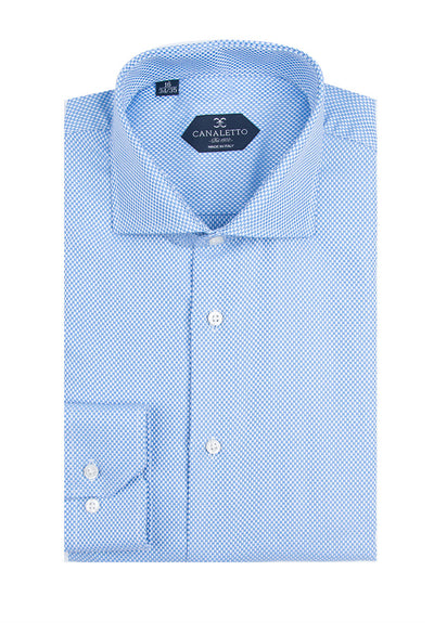 Light Blue Textured Dress Shirt, Regular Cuff, by Canaletto Firenze/223/5  Canaletto - Italian Suit Outlet