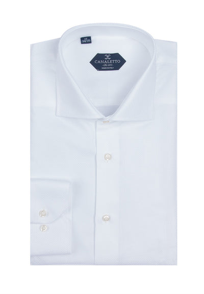 White Textured Dress Shirt, Regular Cuff, by Canaletto Firenze/223/1  Canaletto - Italian Suit Outlet