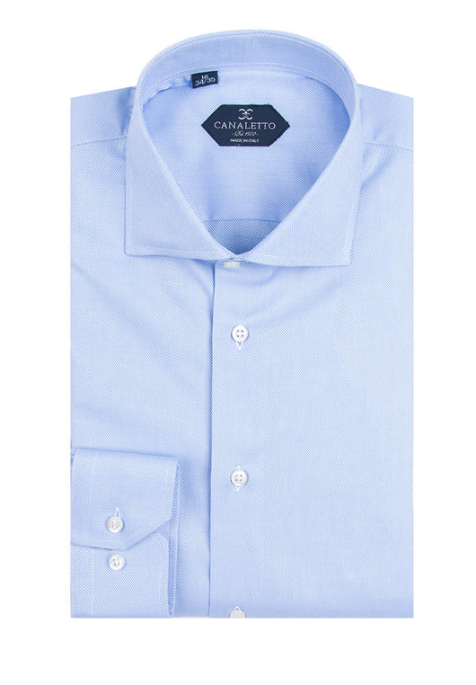 Light Blue Textured Dress Shirt, Regular Cuff, by Canaletto Firenze/E3  Canaletto - Italian Suit Outlet