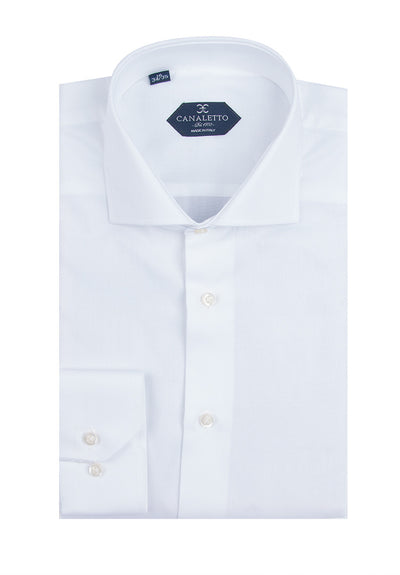 White Textured Dress Shirt, Regular Cuff, by Canaletto Firenze/E1  Canaletto - Italian Suit Outlet