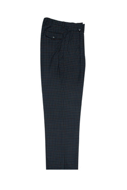 Gray with Multi Color checkered Wide Leg, Pure Wool Dress Pants by Tiglio Luxe FJ2206/5  Tiglio - Italian Suit Outlet