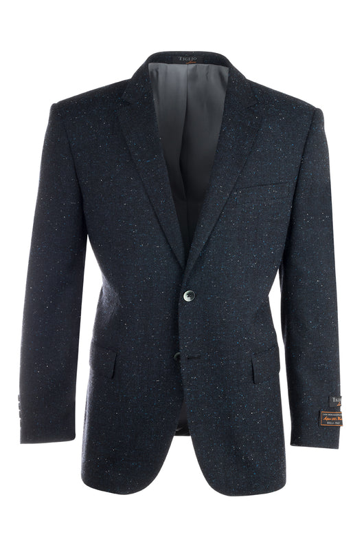 Novello Navy Blue Modern Fit, Pure Hopsack Wool Jacket by Tiglio Luxe FJ8031/1  Tiglio - Italian Suit Outlet