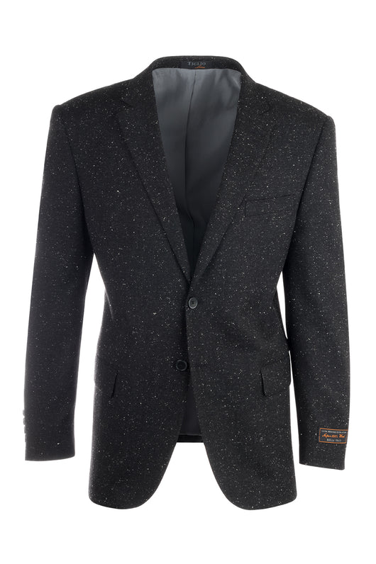 Novello Black Modern Fit, Pure Hopsack Wool Jacket by Tiglio Luxe FJ8031/2  Tiglio - Italian Suit Outlet