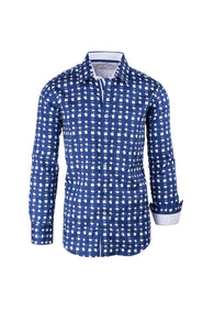 Blue and White Modern Fit Sport Shirt by Tiglio Sport FS3000/03