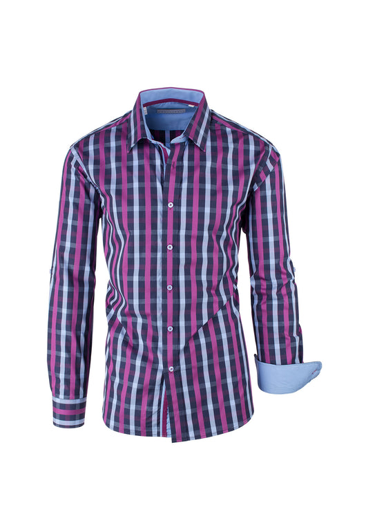 Midnight with Fuchsia and Light Blue Check Pattern Modern Fit Sport Shirt by Equilibrio Sport  Equilibrio - Italian Suit Outlet