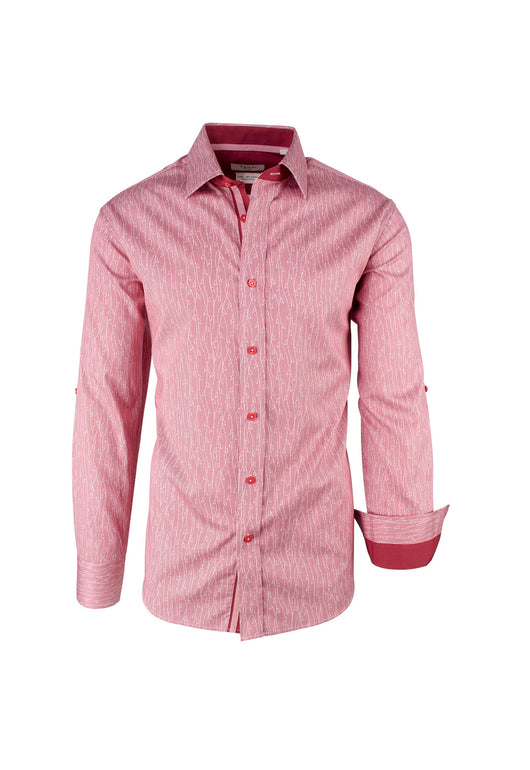 Red with White Pattern Modern Fit Sport Shirt by Tiglio Sport FS6006/2  Tiglio - Italian Suit Outlet
