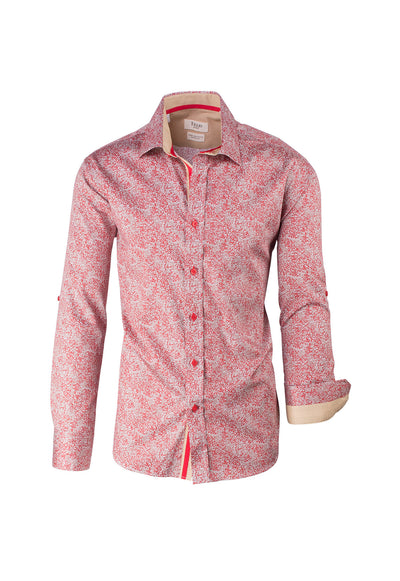 Red and Tan Pattern Modern Fit Sport Shirt by Tiglio Sport FS6018/5  Tiglio - Italian Suit Outlet