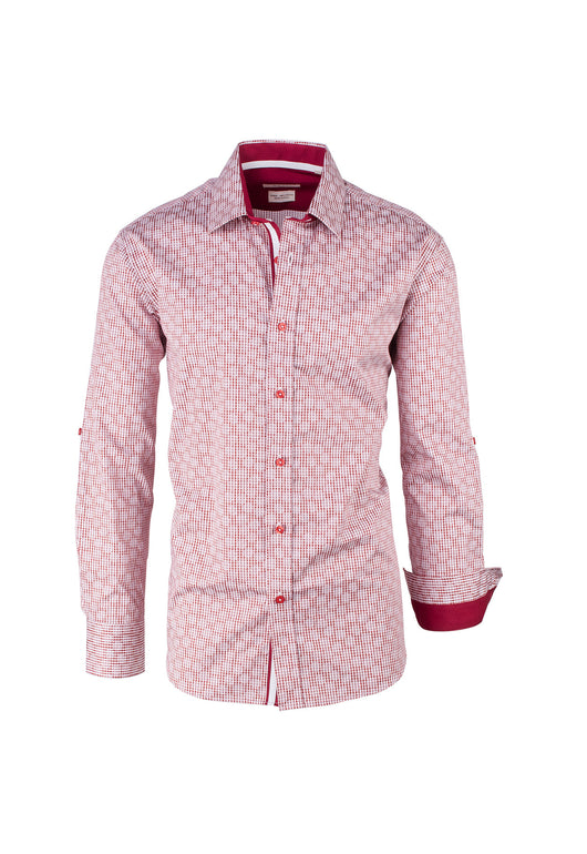 Dark Red with White Pattern Modern Fit Sport Shirt by Tiglio Sport FS6075/4  Tiglio - Italian Suit Outlet