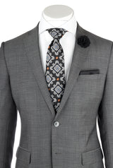 Sienna Gray with Dark Gray Mini Check , Slim Fit, Pure Wool Suit by Tiglio Luxe FT2475/3