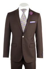 Sienna Brown , Slim Fit, Pure Wool Suit by Tiglio Luxe FT3105/3