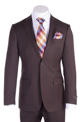 Novello Brown Birdseye Pure Wool Men's Suit by Tiglio Luxe IDM7018/7  Tiglio - Italian Suit Outlet