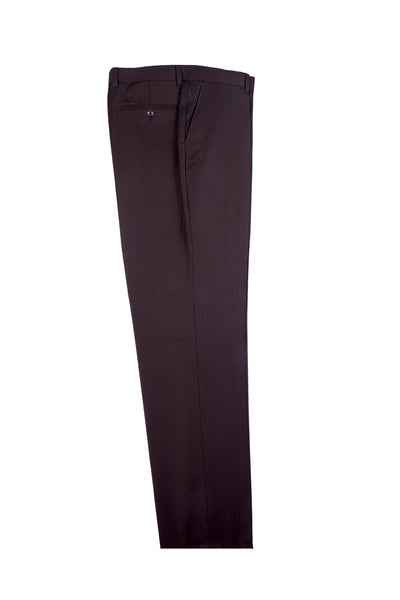 Brown Birdseye Flat Front, Pure Wool Dress Pants by Tiglio Luxe IDM7018/7  Tiglio - Italian Suit Outlet
