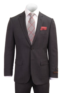 Novello Dark Gray Birdseye Pure Wool Men's Suit by Tiglio Luxe IDM7018/4  Tiglio - Italian Suit Outlet