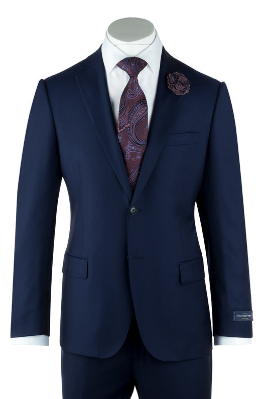 Zegna Ermenegildo Cloth Superfine Wool Cobalt Blue Como Suit By Canaletto Menswear 1880U/0029  Canaletto - Italian Suit Outlet