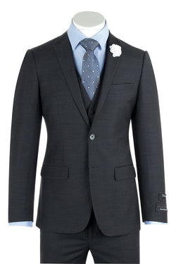 Sienna Charcoal Gray Slim Fit Pure Wool Suit & Vest by Tiglio Luxe TIG1010  Tiglio - Italian Suit Outlet