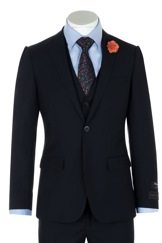 Sienna Navy Blue Slim Fit Pure Wool Suit & Vest by Tiglio Luxe TIG1002  Tiglio - Italian Suit Outlet