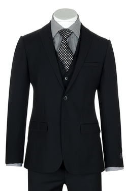 Sienna Black Slim Fit, Pure Wool Suit & Vest by Tiglio Luxe TIG1001  Tiglio - Italian Suit Outlet