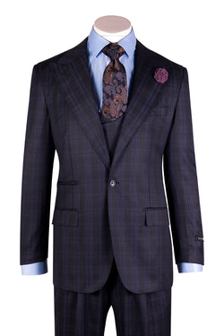 Luca Navy Blue with French Blue Overcheck/Windowpane Wide Leg Pure Wool Suit & Vest by Tiglio Rosso R996123/5  Tiglio - Italian Suit Outlet