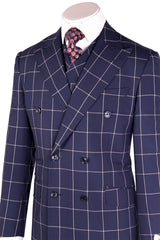 EST Navy Blue with White Windowpane Suit & Vest by Tiglio Rosso 404150/3  Tiglio - Italian Suit Outlet