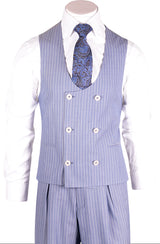 Luca Sky Blue Pinstripe Wide Leg, Pure Wool Suit & Vest by Tiglio Rosso V840.4146/2  Tiglio - Italian Suit Outlet