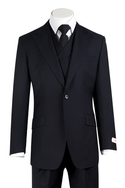 San Giovesse Navy Blue Wide Leg, Pure Wool Suit & Vest by Tiglio Rosso TIG1002  Tiglio - Italian Suit Outlet