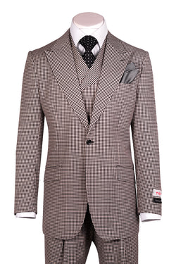 San Giovesse Black and White Check Wide Leg, Pure Wool Suit & Vest by Tiglio Rosso RS5224/1