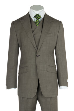 San Giovesse Tan Birdseye Wide Leg, Pure Wool Suit & Vest by Tiglio Rosso TIG1017
