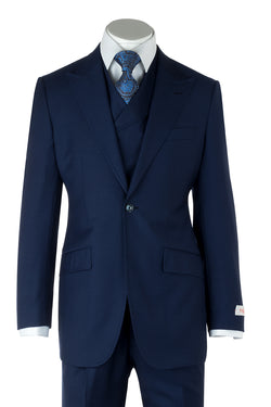 San Giovesse French Blue Wide Leg, Pure Wool Suit & Vest by Tiglio Rosso