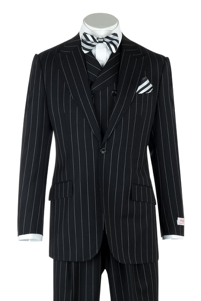 San Giovesse Black Pin-Stripe Wide Leg, Pure Wool Suit & Vest by Tiglio Rosso TIG1052  Tiglio - Italian Suit Outlet