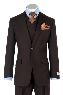 San Giovesse Brown Wide Leg, Pure Wool Suit & Vest by Tiglio Rosso TIG1003