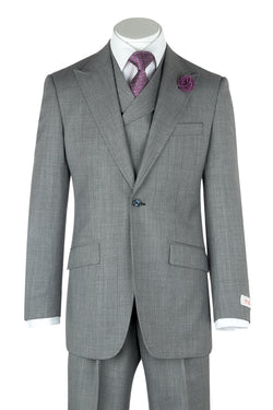 San Giovesse Light Gray Birdseye Wide Leg, Pure Wool Suit & Vest by Tiglio Rosso TIG1018  Tiglio - Italian Suit Outlet