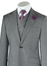 San Giovesse Light Gray Birdseye Wide Leg, Pure Wool Suit & Vest by Tiglio Rosso TIG1018