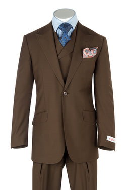 San Giovesse Tobacco Wide Leg, Pure Wool Suit & Vest by Tiglio Rosso TOBACCO