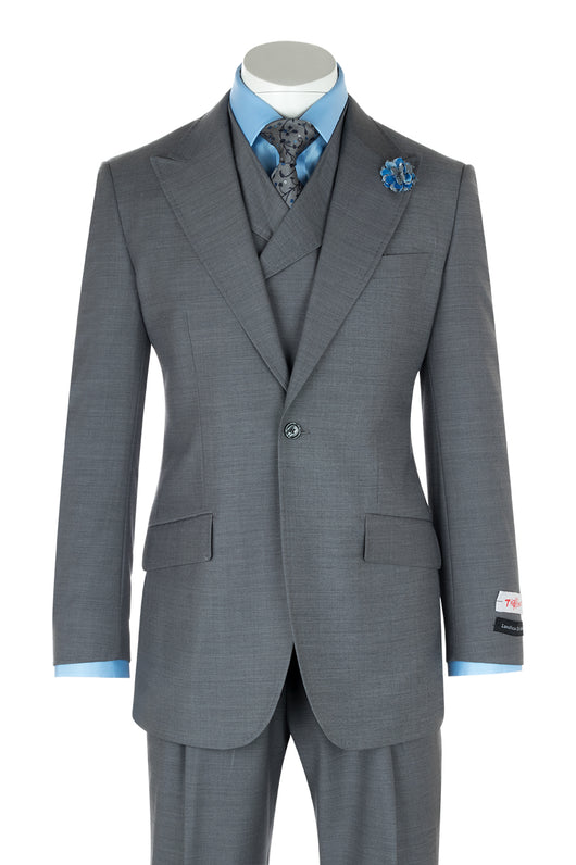 San Giovesse Light Gray Wide Leg, Pure Wool Suit & Vest by Tiglio Rosso E09063/26  Tiglio - Italian Suit Outlet
